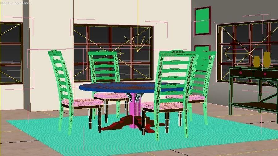 ダイニングテーブルと椅子 royalty-free 3d model - Preview no. 2
