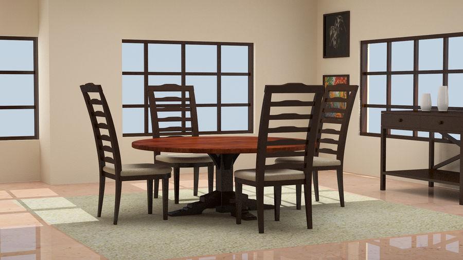 ダイニングテーブルと椅子 royalty-free 3d model - Preview no. 1