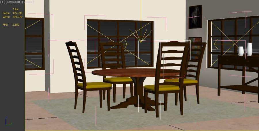 ダイニングテーブルと椅子 royalty-free 3d model - Preview no. 3