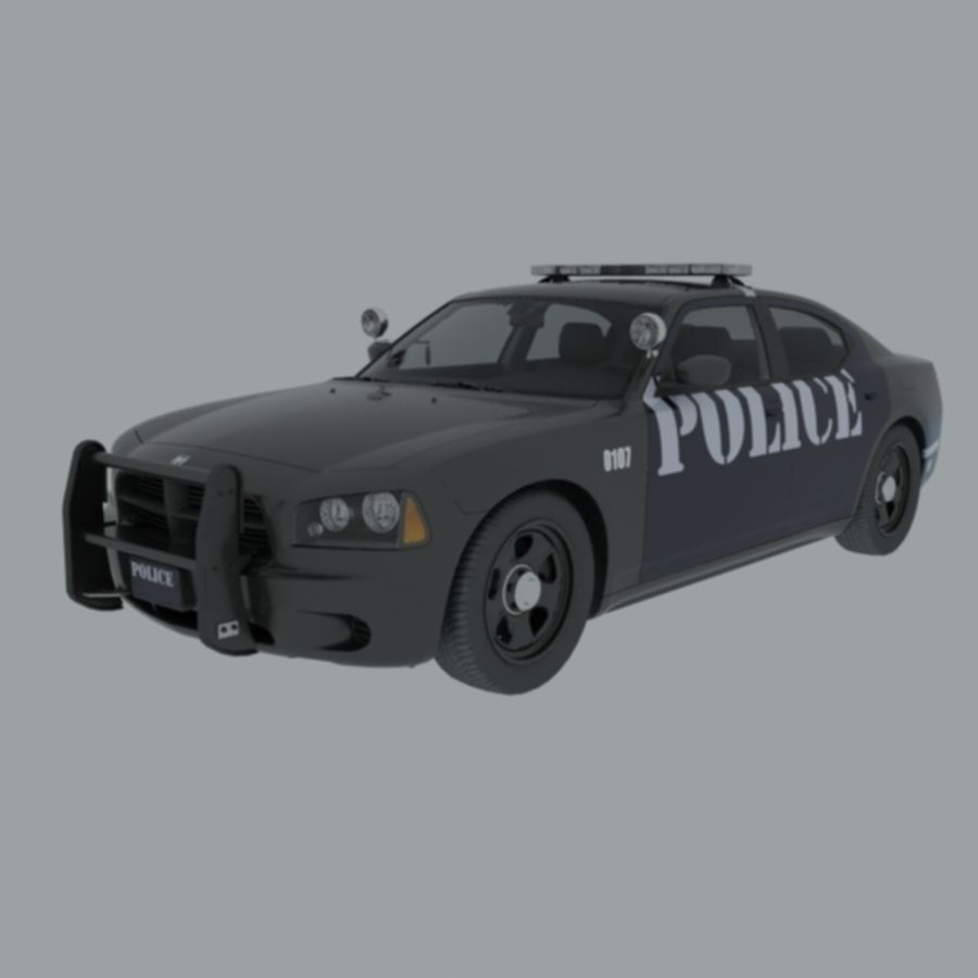 polisbil svart royalty-free 3d model - Preview no. 1