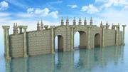 Puente de fantasía sobre el agua modelo 3d