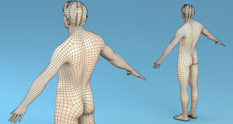基本角色男性 royalty-free 3d model - Preview no. 3