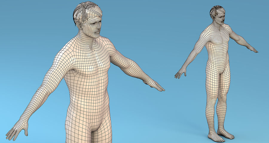 基本角色男性 royalty-free 3d model - Preview no. 2