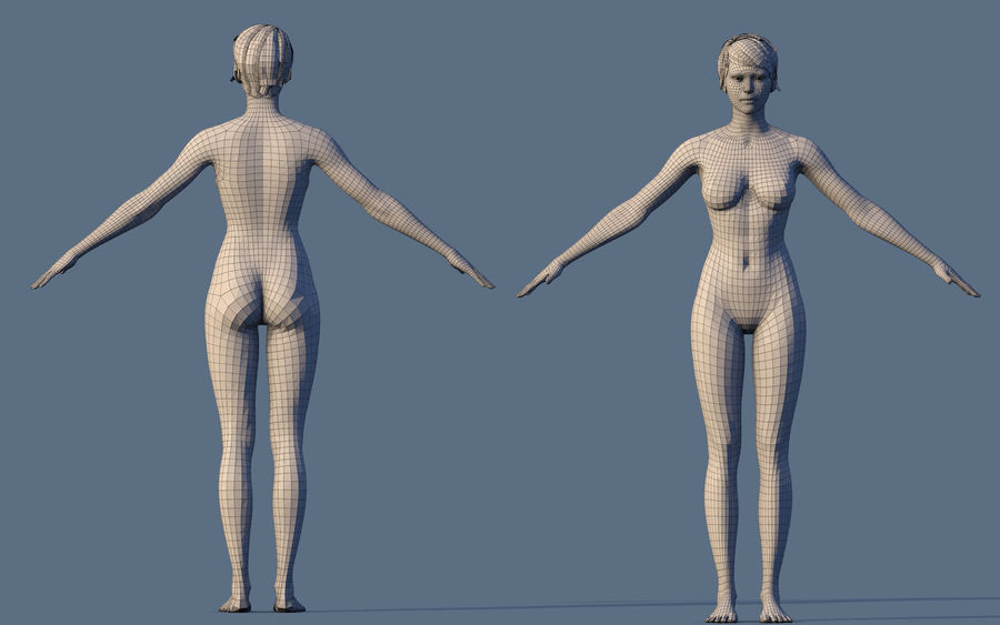 Base Character Female royalty-free 3d model - Preview no. 3