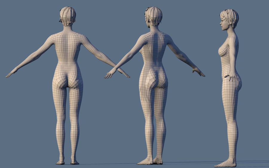 Base Character Female royalty-free 3d model - Preview no. 5