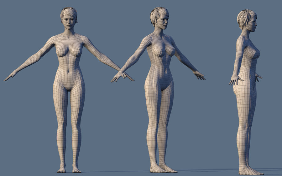 Base Character Female royalty-free 3d model - Preview no. 4