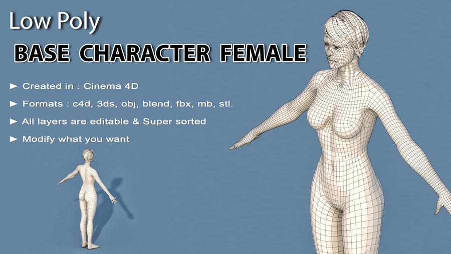 Base Character Female royalty-free 3d model - Preview no. 2