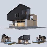 带游泳池的现代住宅 3d model