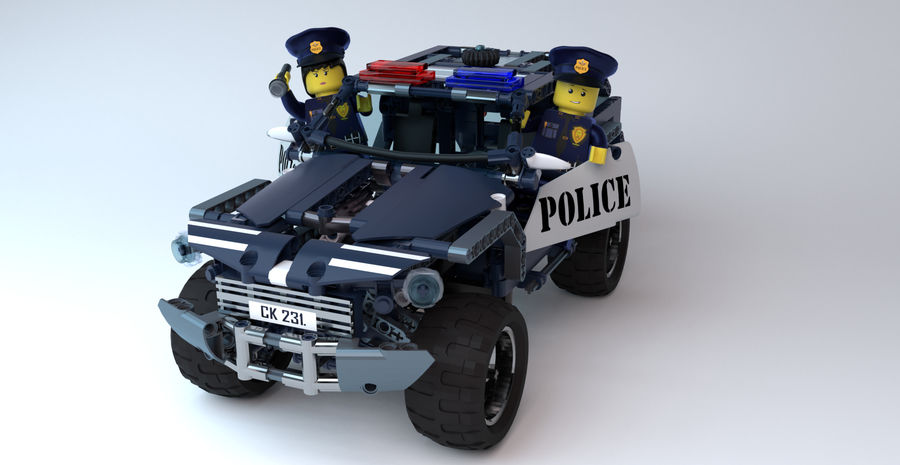 Voiture Cop (Lego) royalty-free 3d model - Preview no. 1
