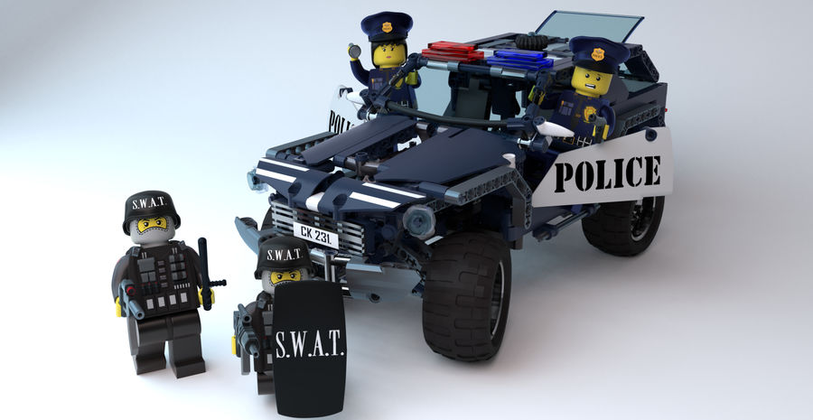 Voiture Cop (Lego) royalty-free 3d model - Preview no. 2