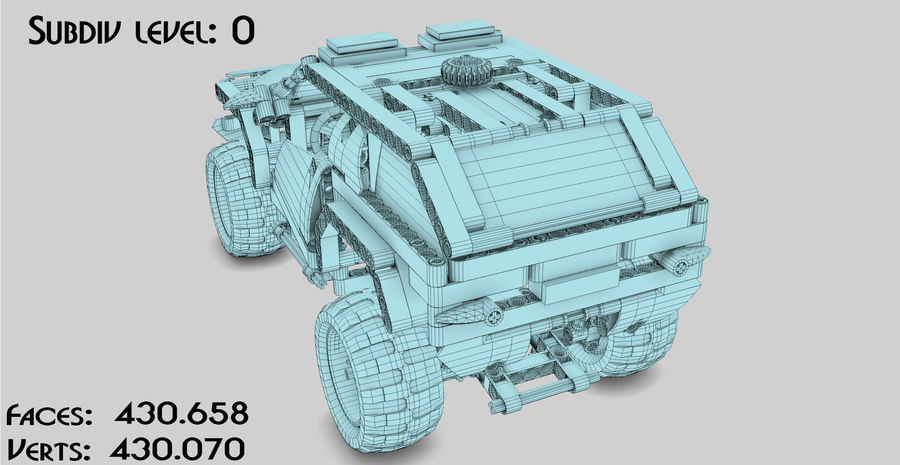 Voiture Cop (Lego) royalty-free 3d model - Preview no. 14