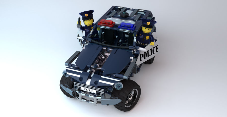 Voiture Cop (Lego) royalty-free 3d model - Preview no. 5