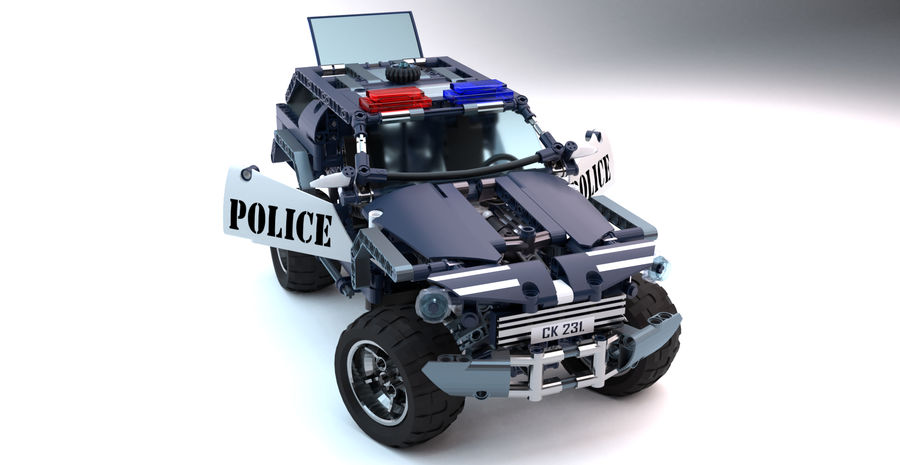 Voiture Cop (Lego) royalty-free 3d model - Preview no. 6