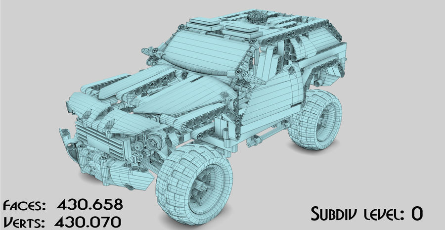 Voiture Cop (Lego) royalty-free 3d model - Preview no. 13