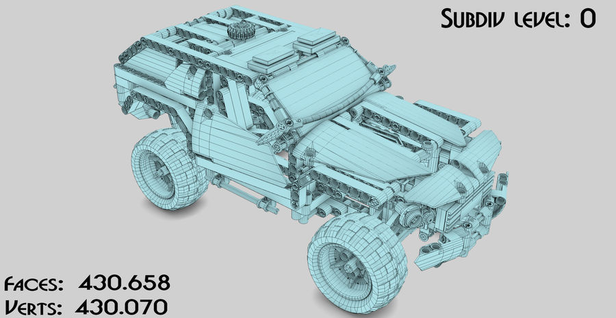 Voiture Cop (Lego) royalty-free 3d model - Preview no. 15