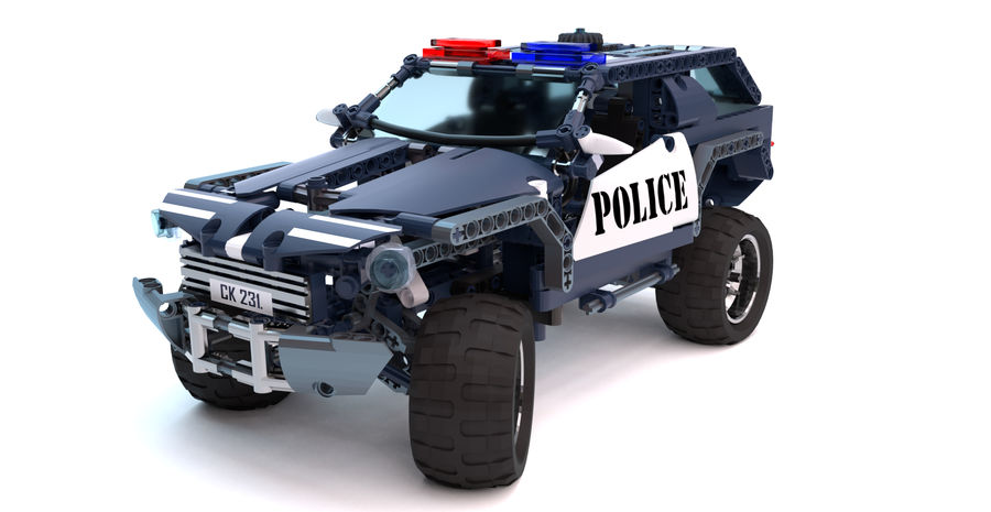 Voiture Cop (Lego) royalty-free 3d model - Preview no. 7
