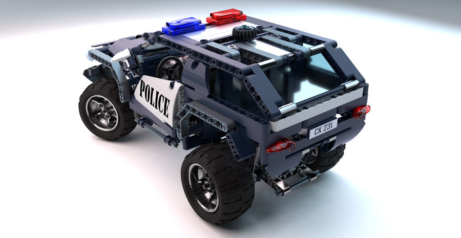 Voiture Cop (Lego) royalty-free 3d model - Preview no. 8