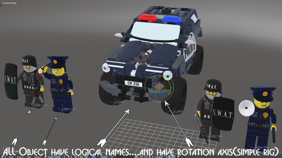 Voiture Cop (Lego) royalty-free 3d model - Preview no. 12