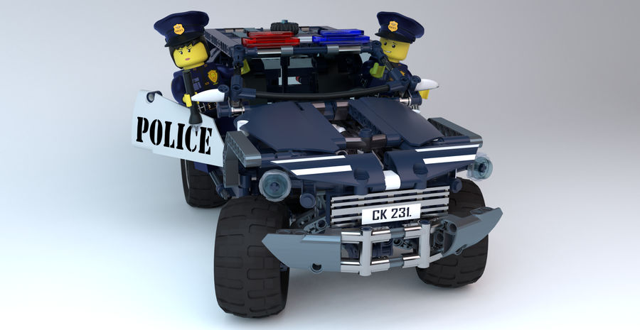 Voiture Cop (Lego) royalty-free 3d model - Preview no. 3