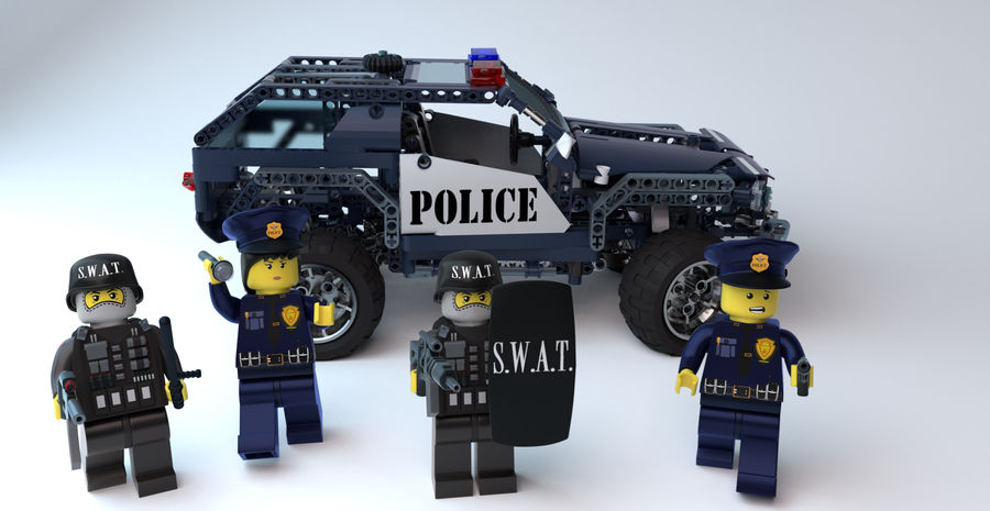 Voiture Cop (Lego) royalty-free 3d model - Preview no. 4