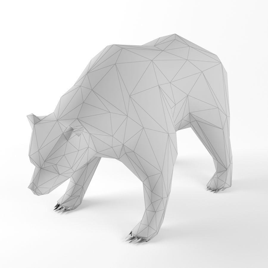 Low Poly Bear Wolf Boar Wild Mammal Animal Set Pack Lowpoly Low-poly 3D model royalty-free 3d model - Preview no. 2