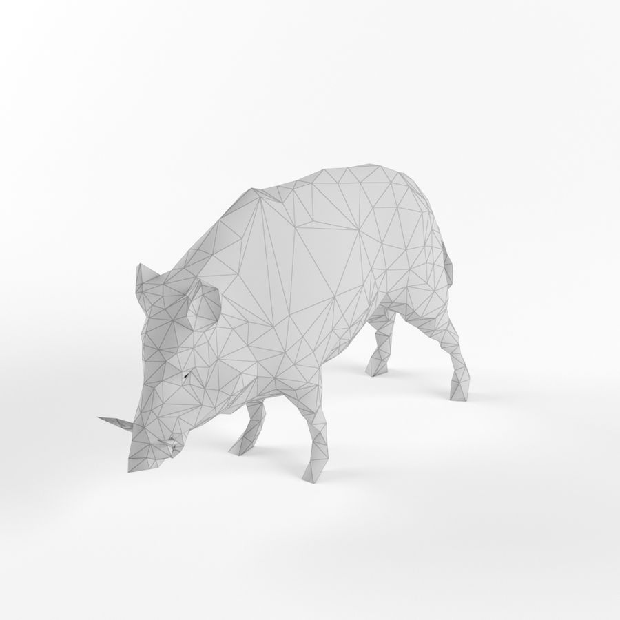 Low Poly Bear Wolf Boar Wild Mammal Animal Set Pack Lowpoly Low-poly 3D model royalty-free 3d model - Preview no. 4