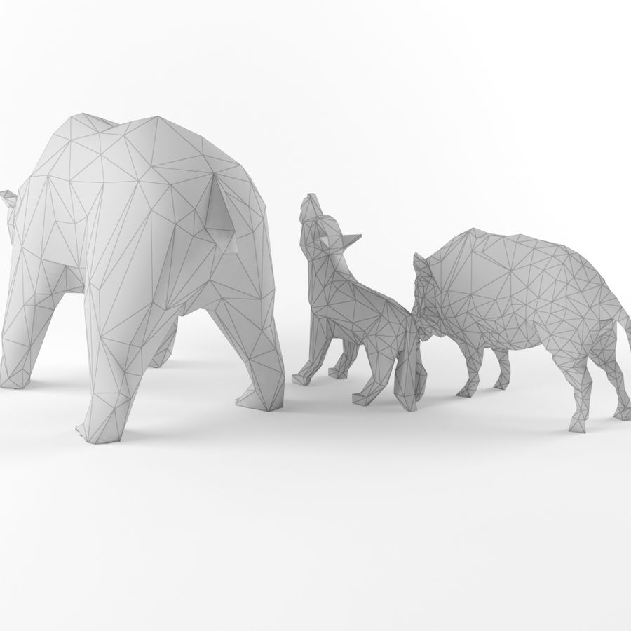Low Poly Bear Wolf Boar Wild Mammal Animal Set Pack Lowpoly Low-poly 3D model royalty-free 3d model - Preview no. 6