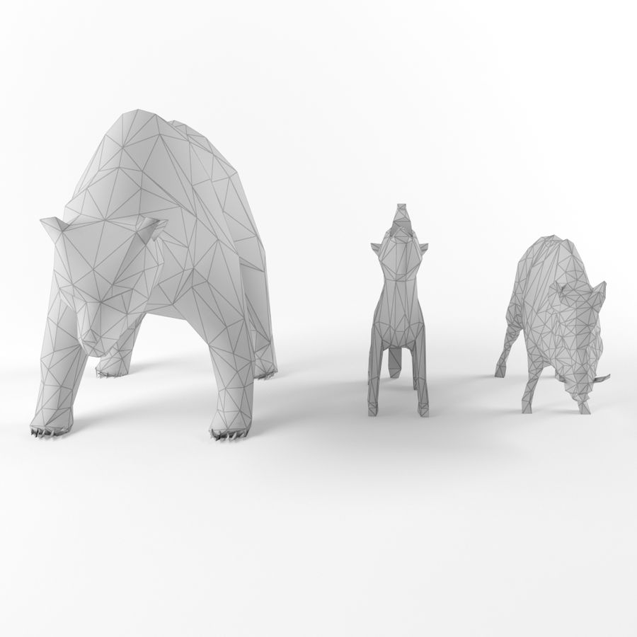 Low Poly Bear Wolf Boar Wild Mammal Animal Set Pack Lowpoly Low-poly 3D model royalty-free 3d model - Preview no. 5