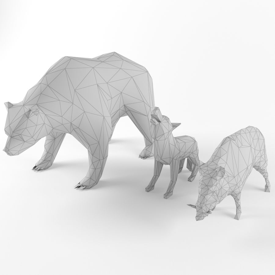 Low Poly Bear Wolf Boar Wild Mammal Animal Set Pack Lowpoly Low-poly 3D model royalty-free 3d model - Preview no. 1