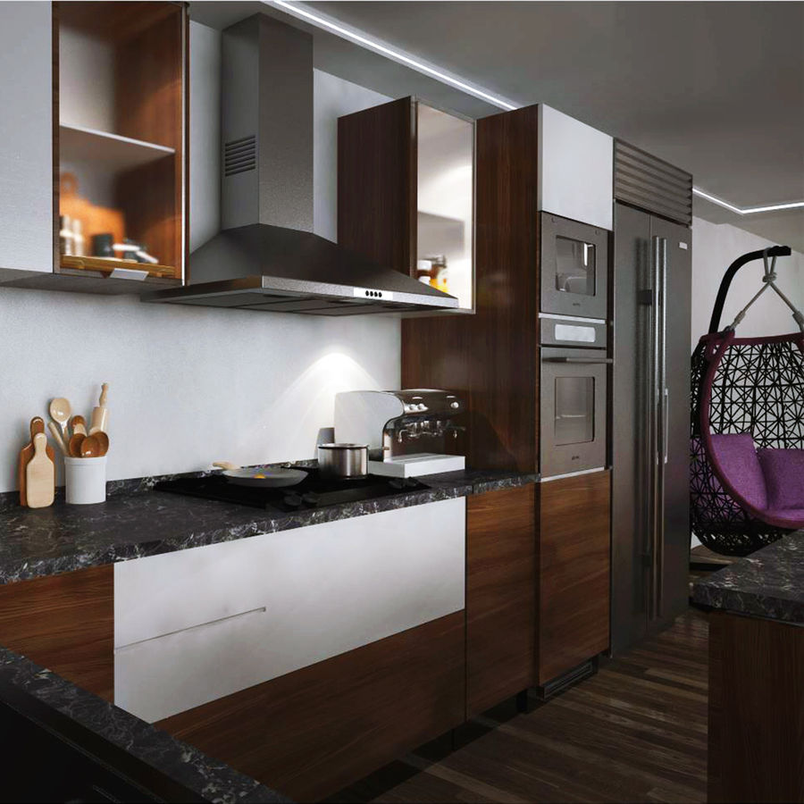 Modern design kitchen cabinets royalty-free 3d model - Preview no. 4