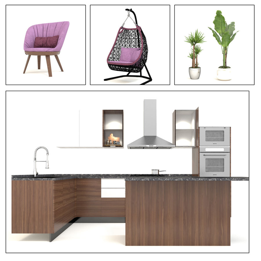 Modern design kitchen cabinets royalty-free 3d model - Preview no. 3