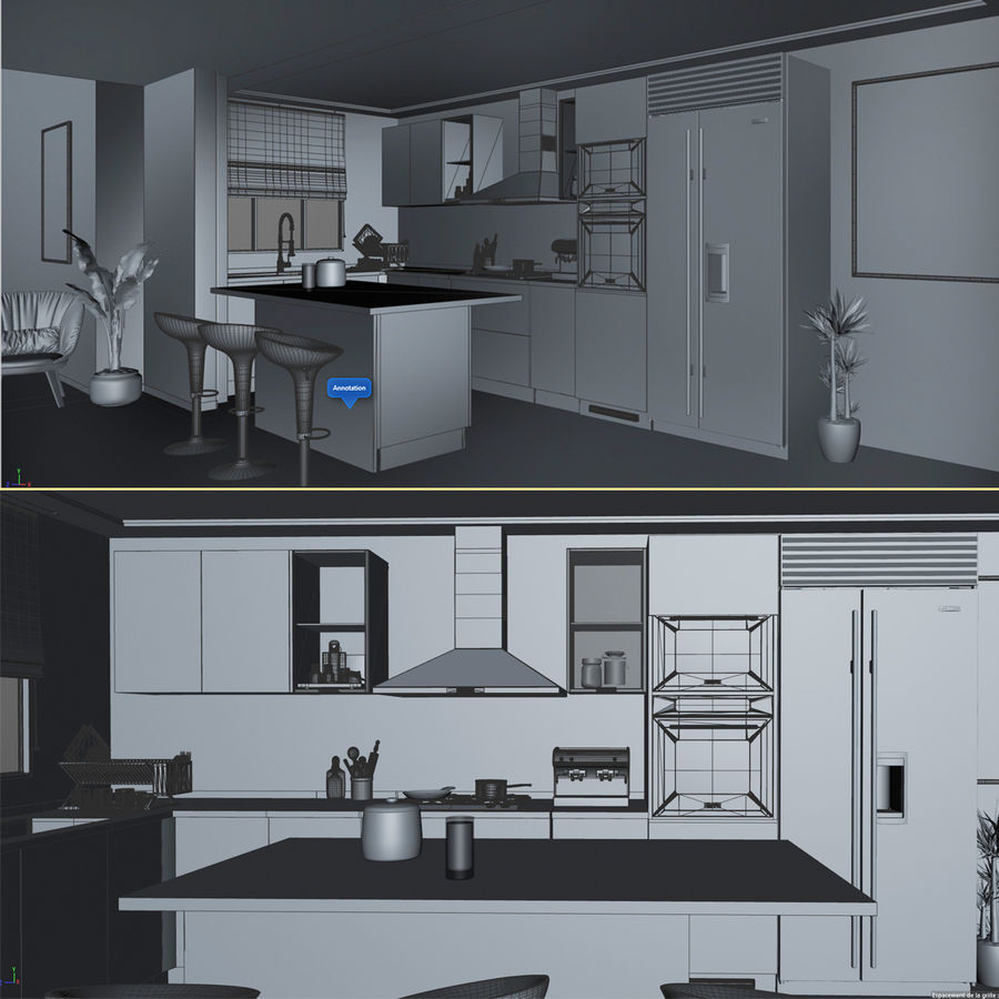 Modern design kitchen cabinets royalty-free 3d model - Preview no. 5