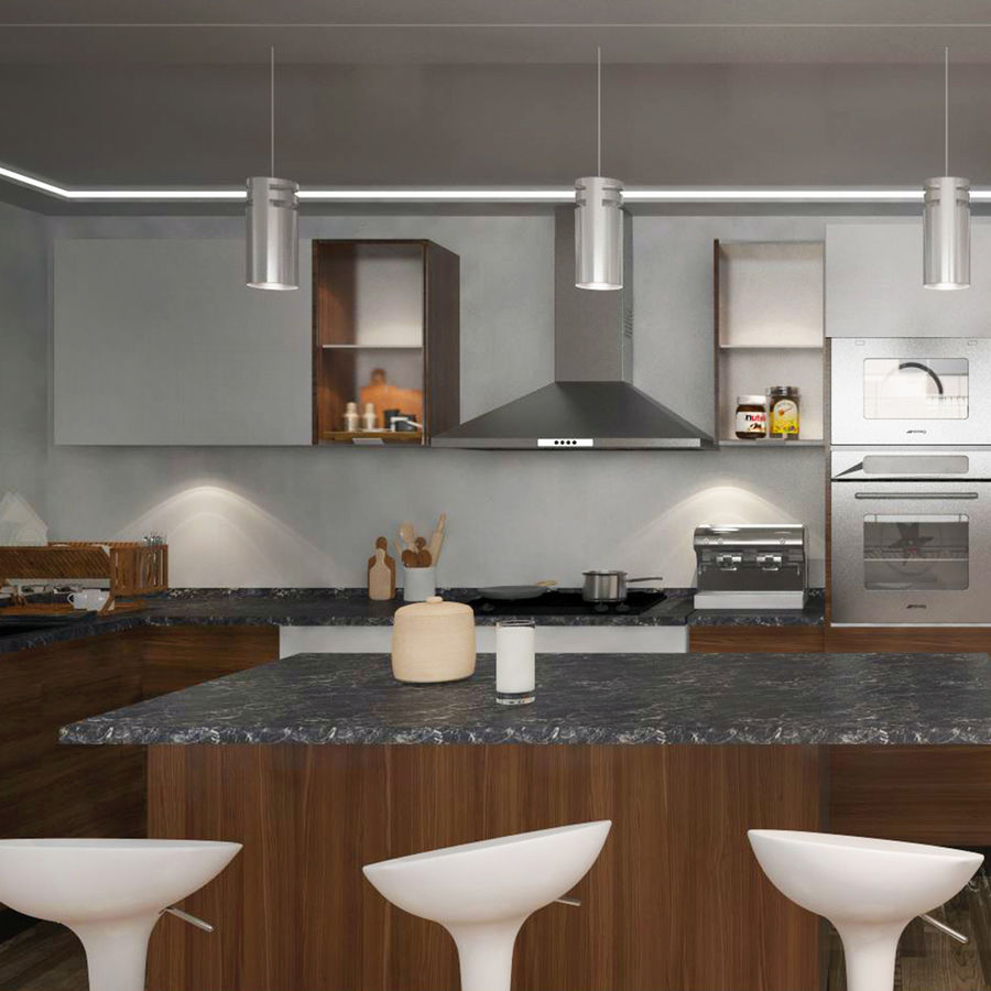 Modern design kitchen cabinets royalty-free 3d model - Preview no. 1