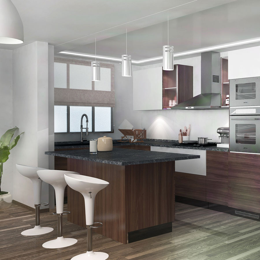 Modern design kitchen cabinets royalty-free 3d model - Preview no. 2