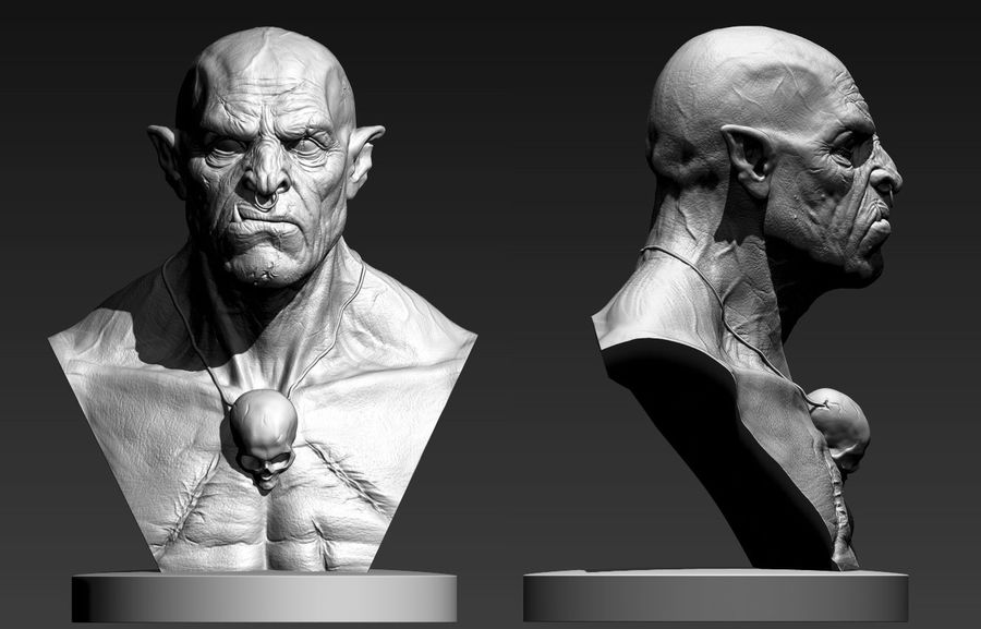 Orc Bust 3D-Druck Modell royalty-free 3d model - Preview no. 1