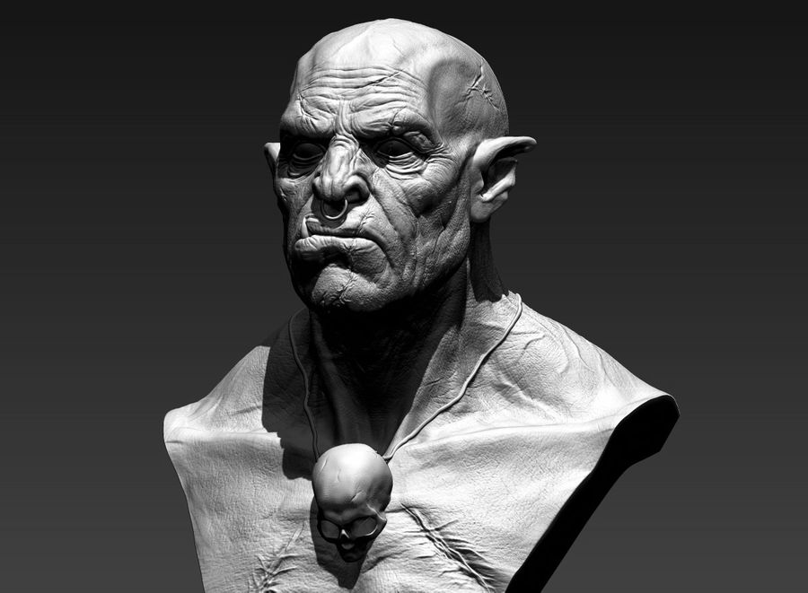 Orc Bust 3D-Druck Modell royalty-free 3d model - Preview no. 2
