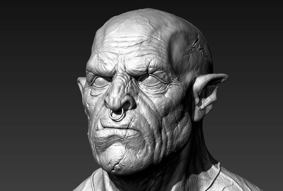 Orc Bust 3D-Druck Modell royalty-free 3d model - Preview no. 3