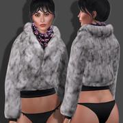 Futrzana kurtka z szalikiem 3d model