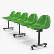 5人乗り3Dモデルのプラスチック椅子行 3d model