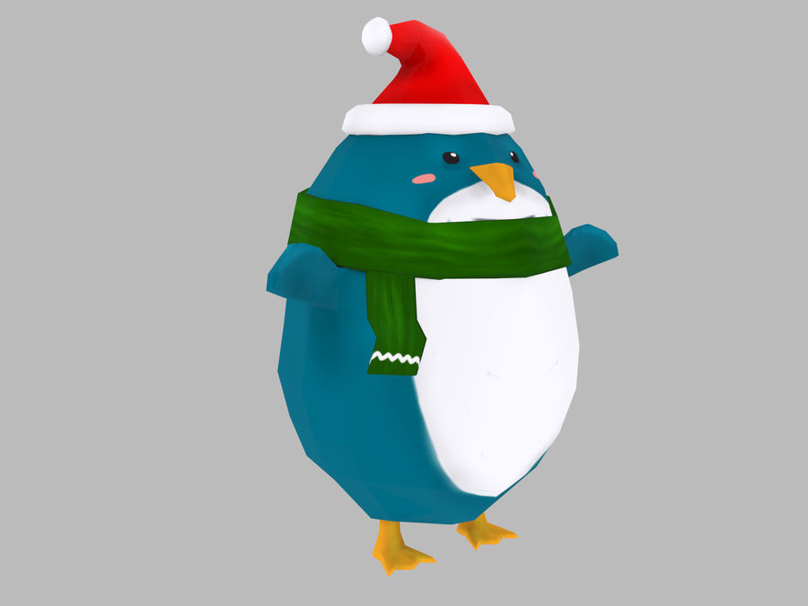 Christmas Penguin royalty-free 3d model - Preview no. 2