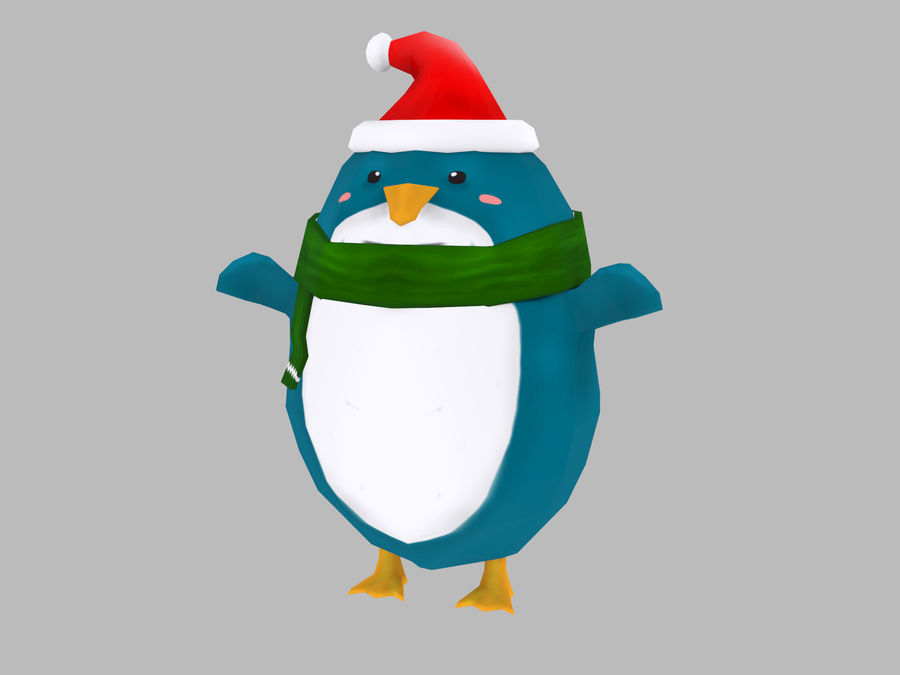 Christmas Penguin royalty-free 3d model - Preview no. 1