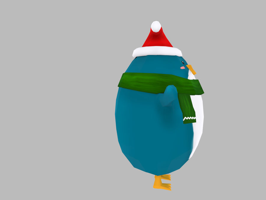 Christmas Penguin royalty-free 3d model - Preview no. 3