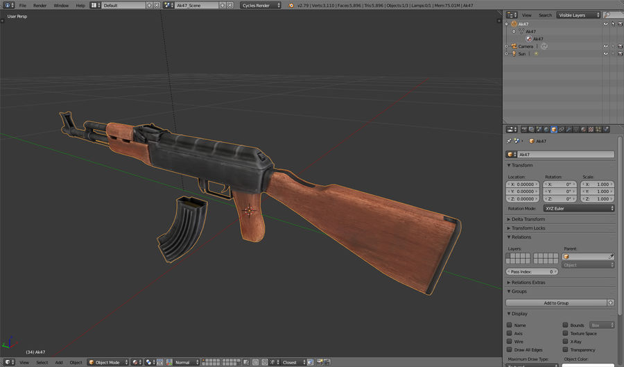 AK-47 royalty-free 3d model - Preview no. 25