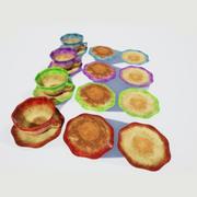 Tasses à thé et couleurs de soucoupe 3d model