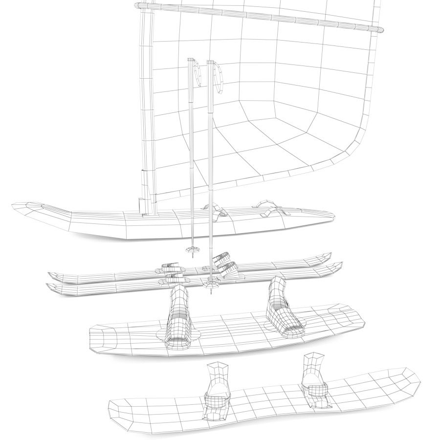 Lowpoly Sport Board Collection royalty-free 3d model - Preview no. 3
