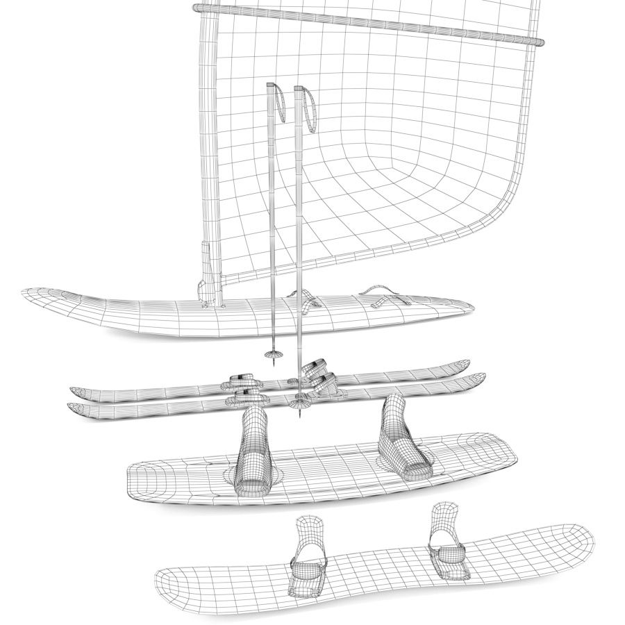 Lowpoly Sport Board Collection royalty-free 3d model - Preview no. 2