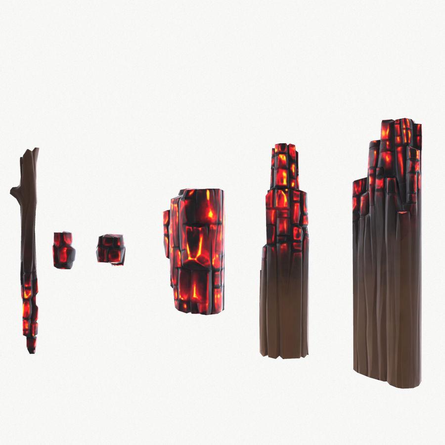 定型化された炭化fire royalty-free 3d model - Preview no. 4