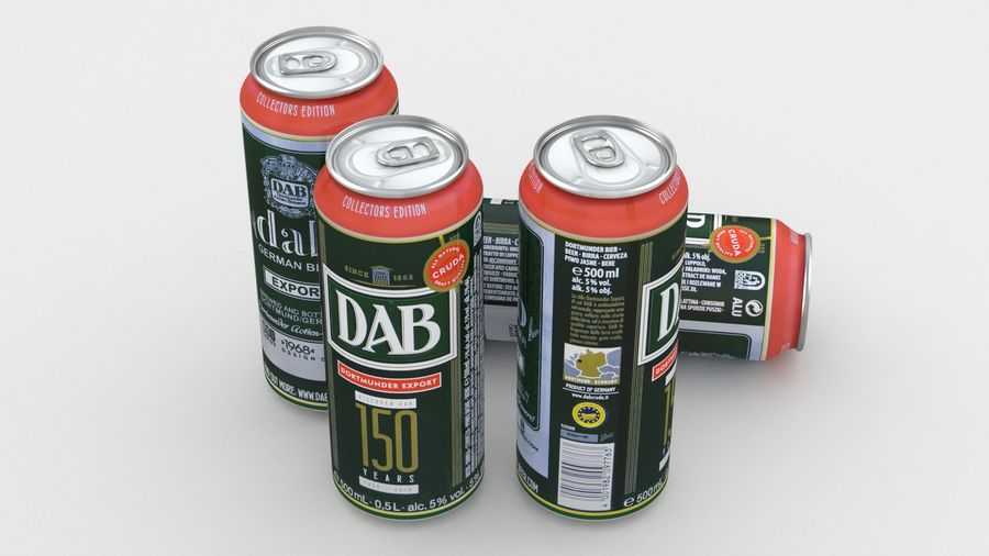 Beer Can DAB Export 150 years 500ml royalty-free 3d model - Preview no. 5