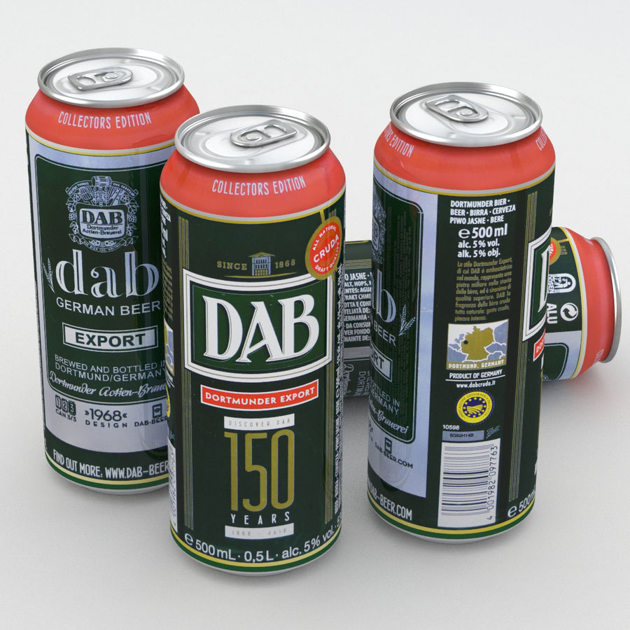 Beer Can DAB Export 150 years 500ml royalty-free 3d model - Preview no. 1