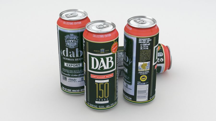 Beer Can DAB Export 150 years 500ml royalty-free 3d model - Preview no. 2